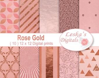 Rose Gold Digital Paper - Rose Gold texture digital download pattern design, rose gold glitter, sunburst, roses, triangles, stripes and dots