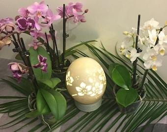 Orchids ostrich egg sculpture