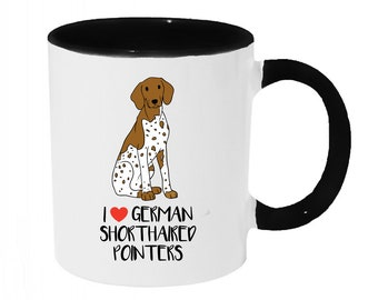 I love German Shorthaired Pointers Coffee or Tea 11oz Mug - Perfect Gift for Dog Lovers