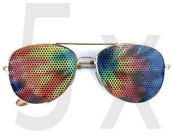 Bulk deal tie dye hippie festival graphic aviator party sunglasses 5-pack
