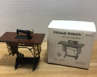 Dollhouse Furniture Price vintage Hello Dolly wooden sewing machine in box
