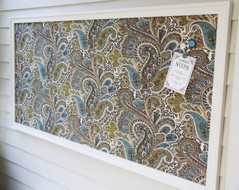 Office Bulletin Board - HUGE Executive Size MAGNETIC Memo Board Oversized Framed Organizer Board 26 x 52 Brown Paisley Fabric Cottage Style