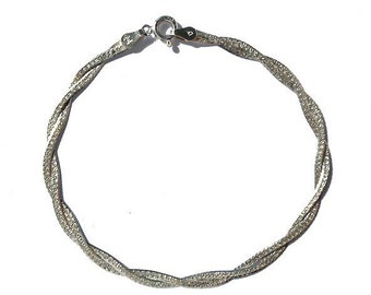 Chain Bracelet Braided Herringbone Delicate Chain Reversible, Milor Chain Jewelry Sterling Silver Bracelet