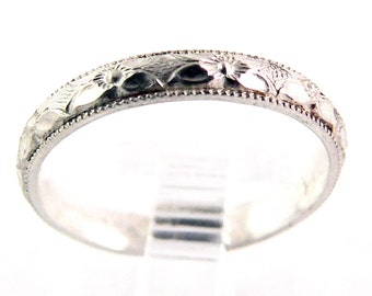 Patterned Sterling Silver Stacking Ring