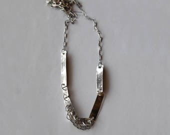 Unique Silver Necklace, Raw Silver Necklace, Raw Jewelry, Modern Necklace, Oxidized