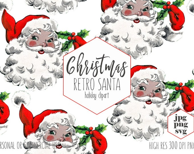 RETRO SANTA CLAUS Clipart for Commercial Use Christmas Clip Art Vintage Santa Svg Hat & Holly Berries Holiday Invitation Digital Graphics