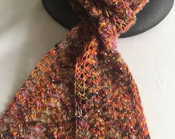 Beaded Knitted Scarf Rocky Mountain Colors