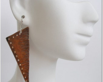 Hammered Copper Rustic Earrings