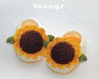 Crochet Pattern - Sunflower Baby Booties Preemie Socks Newborn Shoes & Orange Yellow Brown Sunflower Applique Crochet Pattern (SFB01-Y-PAT)