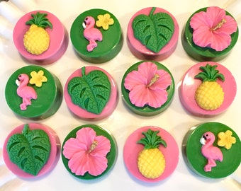 Pink Flamingo Party, Luau, Pineapple, Chocolate Covered Oreos