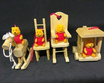 Vintage Winnie The Pooh Christmas Ornaments Wooden and Disney