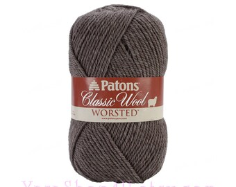 HEATH HEATHER Patons Classic Wool Yarn, Brown Wool Yarn, Felting yarn, medium worsted weight pure wool Feltable yarn 3.5 ounce 100g, 77208 <