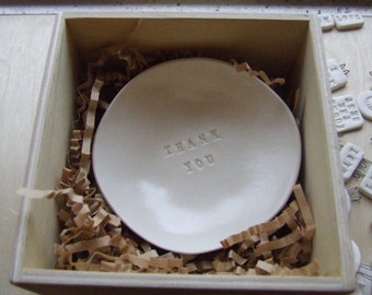 THANK YOU tiny text bowl by Paloma's Nest for dresser or desk, jewelry holder