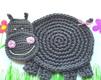 Hippo Coaster - Crochet Coaster - Kids Coaster - Hippo Mug Rug - Nursery Decor - Animal Coaster- Hippopotamus - Baby Shower Gift - For Boy