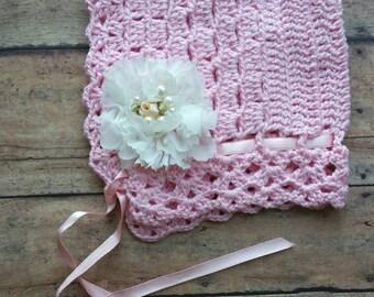 Pink newborn  bonnet - crochet bonnet - newborn crochet bonnet - baby shower gift - newborn photo prop - baby bonnet - pink bonnet