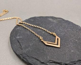 Matte gold chevron necklace