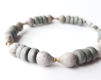 Tribal men's bracelet - wooden bracelet with home grown seeds - Grey Job's Tears