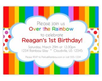 Rainbow Invitation - Rainbow Colors Stripes n Polka Dots, Red Green Blue Rainbow Personalized Birthday Party Invite - Digital Printable File
