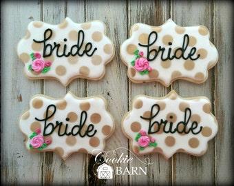 Bride Decorated Cookies - Wedding Decorated Cookies - Bride To Be Decorated Cookies