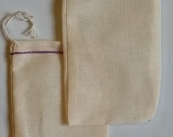 100 3x5 inch  Lavender Hem Double Drawstring Cotton Muslin Bags