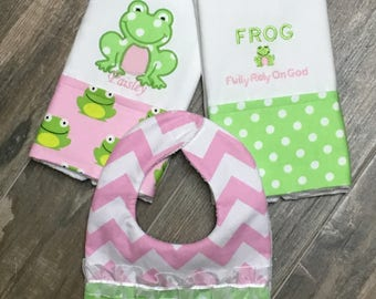 Two F.R.O.G Embroidered Personalized Burp Cloths with a Bib,  F.R.O.G. (Fully Rely On God) Burp Cloth, Boutique Burp Cloth, Baby Shower Gift