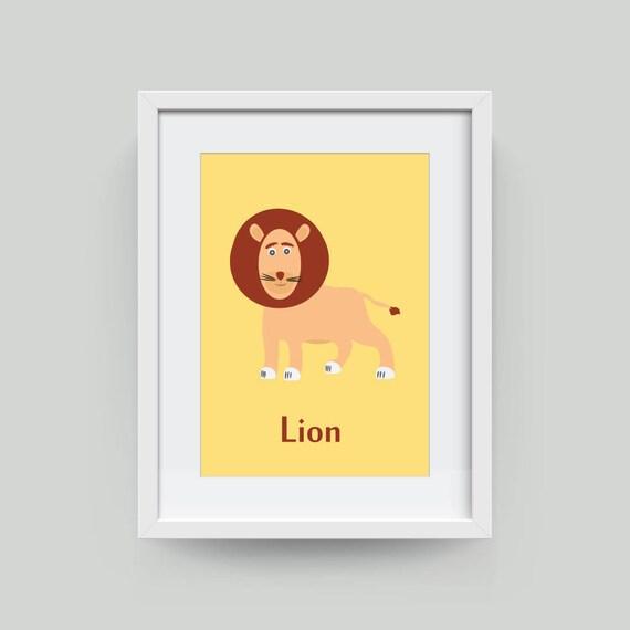 Nursery Wall Art Lion Print Safari Animal Wall Art For