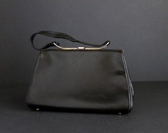 Vintage Black Leather Handbag By Elite Handbags One Strap Handle Purse