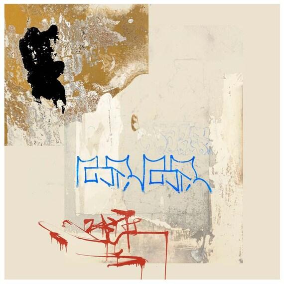 Stele | Text Message, urban art, collage, modern art, abstract art, square print, digital print, archival print,graffiti art