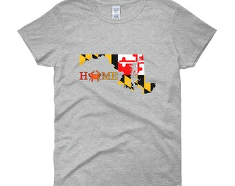 Maryland State Home with Crab Women's short sleeve t-shirt