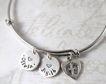 Mother's Day gift, New mom gift, personalized expandable bangle bracelet, charm bracelet, mother gift bracelet, custom hand stamped