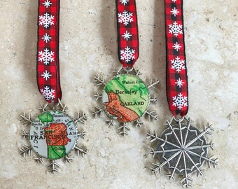 San Francisco Snowflake Map Ornament or Berkeley + Oakland  Silver