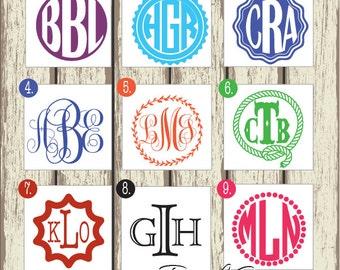 Large Monogram Sticker - Monogram Decal - Personalized Monogram/Initials - Circle or Script Monogram - Car Decal, Laptop Sticker 057