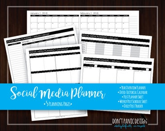 Social Media Planner - Social Media Printable Bundle - Post planner - Small Business Planner - Editorial Calendar - Instant Download