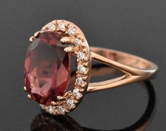 14K Rose Gold Tourmaline and Diamond Ring | Engagement Ring | Wedding Ring | Anniversary Ring | Diamond Halo | Handmade Fine Jewelry