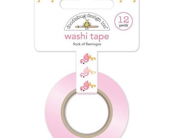FLAMINGO Paper Tape - 12 yards - 5/8 inch - flamingo party - pink flamingo - flamingo birthday - flamingo washi