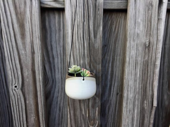 Small Ceramic planter-white-   Hanging flower pot - herb planter