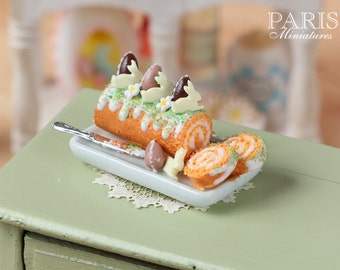 MTO- Easter Swiss Roll - Miniature Food in 12th Scale