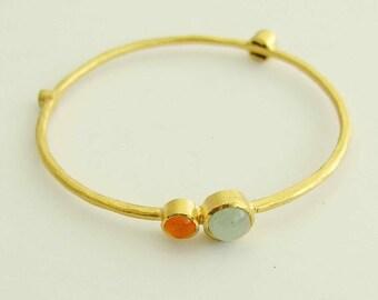 14k yellow gold bangle, jade, carnelian, coral, pearl bangle, brushed gold bangle, gold bracelet, simple gold bangle - Burning bright BG6700
