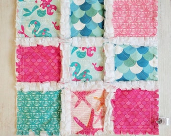 Mermaid Rag Quilt Lovey