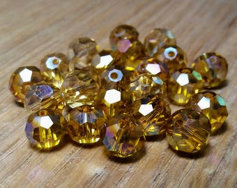 Topaz Faceted Crystal Glass Round Beads 8mm, 22ct.