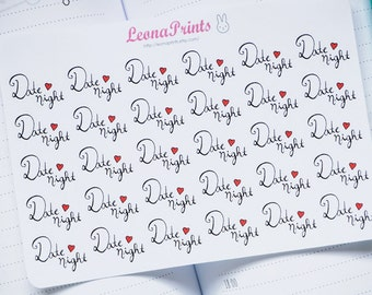 Date Night Calligraphy Planner Stickers | Stationery for Erin Condren, Filofax, Kikki K and scrapbooking
