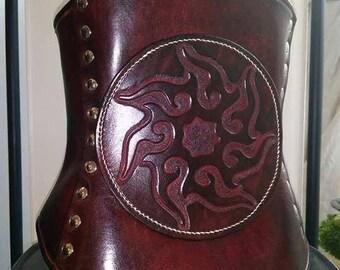 Underbust leather shuriken/Sun