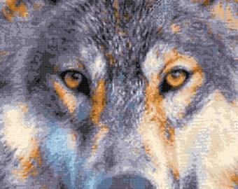 Wolf cross stitch, Wolf face (v2) counted cross stitch kit