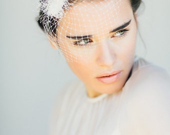 "Bridal Birdcage Wedding, French Netting Headpiece - ""Lale"""
