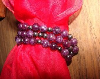 Bracelet Garnet and Hematite 8mm Gemstone 3 rows 3 strand in Gift Box, Handmade Jewelry, Gift for Her