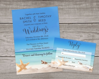 Beach Wedding Invitations Printed and Shipped to You - Includes Invitation, Self Mailing RSVP Card, and Envelopes - Beach Wedding-103