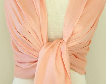 Wedding party gifts peach pashmina shawl bridesmaid gifts scarf bridal accessories, monogrammed gift