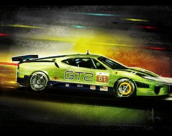 Automotive Art Green Ferrari: 12x18 Metallic Print