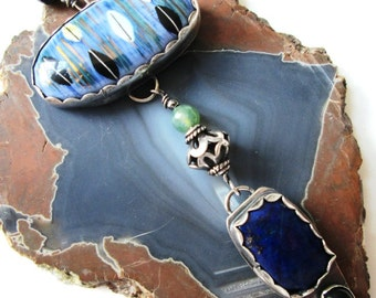 32 Inch Long Necklace in Sterling Silver with Ceramic Cabochon, Lapis and Onyx Dangle and Gemstone and Sterling Beads Jewelry