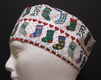 Scrub Hat or Surgical Cap with Christmas Stockings Hanging in a Row